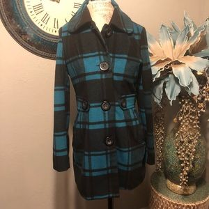 Joujou blue and black plaid duster jacket